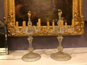 Rare Pair Venetian Glass Candelabras Or Lamps Dolphin Gold Flakes Murano