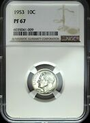 1953 Ngc Proof 67 Roosevelt Silver Dime ☆☆ Deep Mirrors ☆☆ Great For Sets 009
