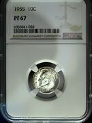 1955 Ngc Proof 67 Roosevelt Silver Dime ☆☆ Great For Sets ☆☆ 030