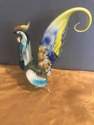 Vintage Murano Art Glass Hand Blown 11 Inches Tall Multi-color Rooster Nice