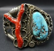 Old 1950s Zuni Sterling Silver Branch Coral And Blue Turquoise Cuff Bracelet