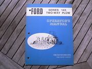 Ford Tractor Series 145 Two Way Plow Owners Operators Manual Guide Book Set Up
