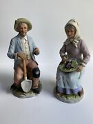 Homco Home Interiors 1433 Old Man And Old Woman Farm Couple Figurines