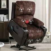 Power Massage Lift Recliner Chair With Heat And Vibration Overstuffed Fabric Sofas