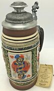 Vintage Thewalt Peter Dumler Beer Stein Relief Playing Cards Limited Edition