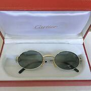 Sunglasses Oval Silver Metal Frame Smoke Gray Lenses 48-20 Authentic