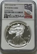 1993-p Silver Eagle Ngc Pf70 Ucam Anna Cabral Signed