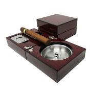 Wood Folding Low Lustercigar Ashtray With Guillotine Cutter And Bullet Punch Set