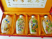 Mid- Century Chinese Snuff Bottle Set Of 4 ''flowers And Birds Of Four Seasons''