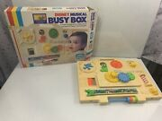 Vintage Disney Child Guidance Musical Busy Box Mickey Mouse Baby Crib Toy In Box