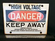 Porcelain Danger High Voltage Sign For Us Dept Of The Interior Water And Power