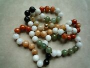 Vintage Natural 10mm Multicolor Jadeite Jade Beads And Solid 14k Gold Necklace 97g
