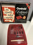 Vintage Osmiroid Calligraphy Desk Set 1 Pen, Nibs - 22 Carat Gold Plated And Book