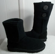 New Ugg Boots Classic Cardy Knit Black Youth Size 5 Or Women's Size 7