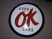 Porcelain Ok Used Cars Sign Size 30 Double Sided Pre-owned.