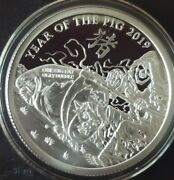 1 Oz .999 Pure Silver Shield Proof Year Of The Pig V1 Trump Members Round Coin