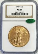 1927 Gold 20 Saint Gaudens Double Eagle Coin Ngc Mint State 64 Cac Sticker