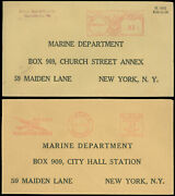 Sep 12 1941 Lot/2 Pre-addressed Covers To Marine Dept Ny Us/canada Meter Mail