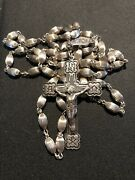 """Antique Ornate Large Rosary Solid Sterling Silver 22"""""""