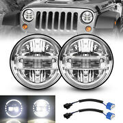 Pair 7'' Chrome 120w Led Headlights Halo Angle Eyes For Hummer H1 H2 Am General