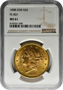 1888 Ddr 20 Gold Double Eagle Liberty Head Coin Fs-801 Ngc Ms 61