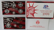 1999 S Silver Proof Set Us Mint Annual 9 Coins Box Coa And Statehood Quarters