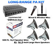 Complete Kit Outdoor Pa Sound System Public Address 4 Horn Speakers Weatherproof