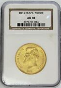 1853 Gold Brazil 20000 Reis Pedro Ii Coinage Ngc About Uncirculated 50 Au 50