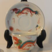 Vintage Red Dragon By Japan Restaurant Ware Footed Sake/tea Cup And Saucer Sets Re