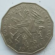 Old Coin 1982 Brisbane Commonwealth Games 50 Cents Australian