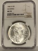 1983-d Olympics Commemorative Silver One Dollar Coin Ngc Ms70