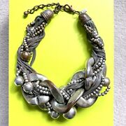 Kenneth J Lane Oversized Statement Necklace Multi Chain Silver Tone Rp £195