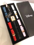 New Authentic Disney Mickey Mouse Boxed Goldtone Watch Set 5 Leather Bands