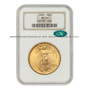 1924 20 Gold Saint Gaudens Ngc Ms64 Cac Certified Graded Double Eagle