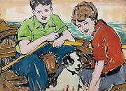 David Bromley Children Out On The Water Mixed Media On Card 76cm X 106cm