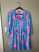 Nwt Lily Pulitzer Marlina Tunic Dress W/tassels In Blue Haven And Raising Shell Xs