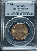 2008-d Pcgs Ms67 Position A Andrew Jackson Presidential Dollar Simpsons Story
