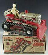 Marx 1950s Climbing Tractor Sparkling Tractor Blade Highboy Windup Toy Mib 7