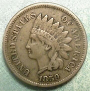 1859 Indian Head Penny Vf+ Ch Very Fine 1st Year A+ Lib And 2+diam Abe Campaigns