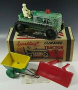 Marx 1950and039s Climbing Tractor Set Sparkling Tin Mib Windup Toy Green Orig Box 4