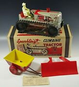 Marx 1950and039s Climbing Tractor Set Sparkling Tin Mib Windup Toy Red With Box 2
