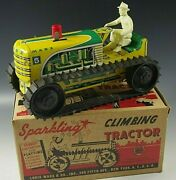 Marx 1950's Climbing Tractor Sparkling Tin Mib Windup Toy Yellow With Box 10