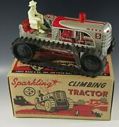 Marx 1950's Climbing Tractor Sparkling Tin Mib Windup Toy Red With Box 11