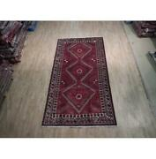 5x10 Hand Knotted Semi-antique Abadeh Wool Rug Red B-74477