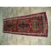 4x11 Tribal Rug Red Hand Knotted Semi-antique Runner B-74387