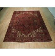 9x11 Authentic Hand Knotted Semi-antique Wool Rug Red B-73138