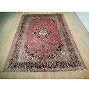 10x13 Authentic Hand Knotted Semi-antique Wool Rug Red B-72887