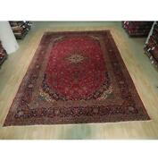 9x14 Authentic Hand Knotted Semi-antique Wool Rug Red B-73511
