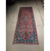 4x11 Authentic Hand Knotted Semi-antique Wool Runner Red B-72915