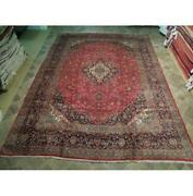 10x14 Authentic Hand Knotted Semi-antique Wool Rug Red B-73791
